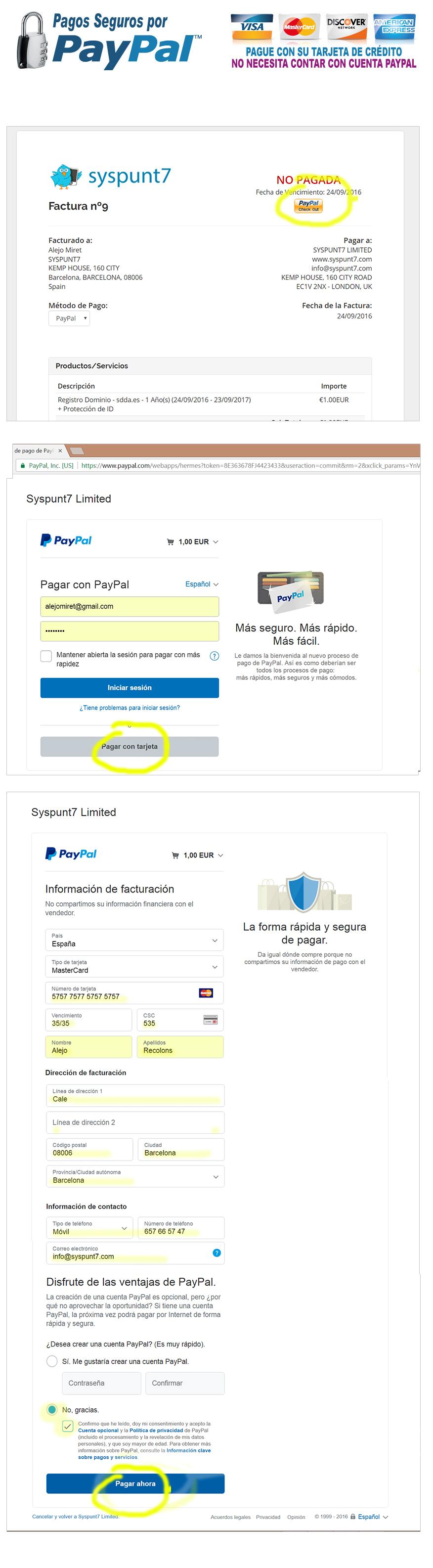 Tarjetas de Credito mediante PayPal